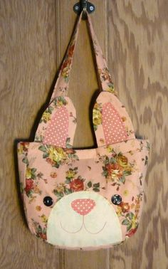 Childrens Bag Kids Big Shopping Bag Pink Rabbit by NellyJaneCrafts, £20.00