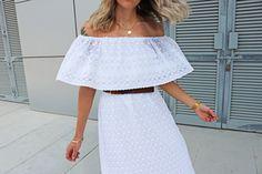 Tutorial for super easy off-the-shoulder midi dress on my blog!