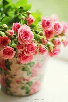 Roses in a Rose Decorated Pot