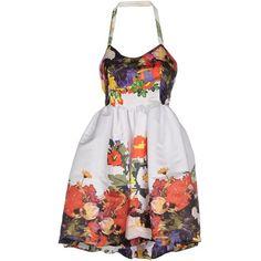 Leitmotiv Short Dress ($130) ❤ liked on Polyvore featuring dresses, white, pocket dresses, white cocktail dress, floral dresses, short white dresses and white mini dress