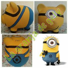 Minions Pig Bank, Apple Festival, Paint Your Own Pottery, Pottery Painting, Painting For Kids, Peppa Pig, Decoupage, Diy And Crafts, Projects To Try