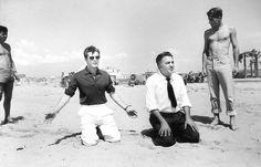 Marcello Mastroianni and director Federico Fellini rehearsing the final scene forLa Dolce Vita on the beach at Passo Oscuro, Italy, 1960