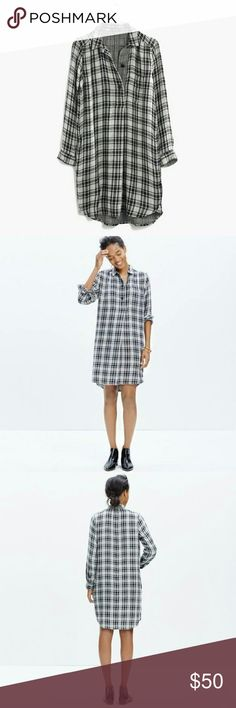 "Madewell Latitude Shirtdress Madewell Latitude Shirtdress in Kemp plaid. Houndstooth/plaid print, super soft! Hem dips lower in the back, and best of all, it has pockets! 36 3/8"" from the shoulder and sold out online! My loss is your gain! Nonsmoking household. Make me an offer! Madewell Dresses Long Sleeve"