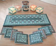 Mosaic tile tray, coasters, candle holders.