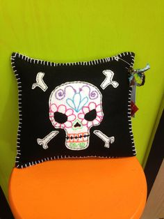 Colorful Embroidered Sugar Skull Felt by GaudyGlamBoutique on Etsy