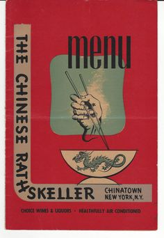 Vintage Undated Menu The Chinese Rathskeller Chinatown NY