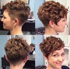 Curly beauties, this is the ideal place for you if you want to explore the wonderful curly short hair styles! With the most popular short haircuts. Short Curly Pixie, Curly Pixie Hairstyles, Short Curly Haircuts, Hairstyles 2018, Natural Hairstyles, Undercut Pixie, Black Hairstyles, Haircut Short, Haircut Styles