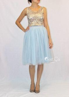 Claire Baby Blue Soft Tulle Skirt - Midi - C'est Ça New York