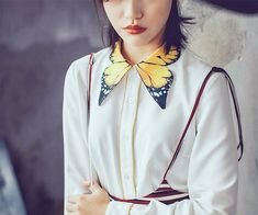 Fine Art Collection gorgeous white Shirt with yellow tiger butterfly collar  · PurpleFishBowl · Online Store Powered by Storenvy 5e69118ccc7d1