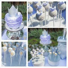 Purple princess party cake and cake pops #princess #knight #cake https://www.facebook.com/BashCandyDessertBuffets