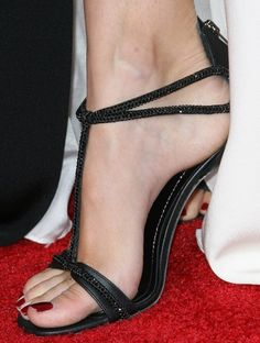 Beth Behrs in crystal-embellished t-strap sandals at the 2014 People's Choice Awards on January 8, 2014