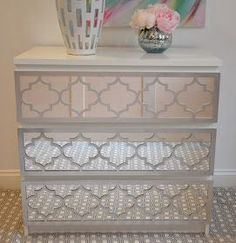 """Overlays     Jasmine              Jasmine is available in panel size 8"""" x 31.25""""   which fits the 3, 4 and 6 drawer MALM Dressers.   ..."""
