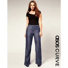 Asos Curve Tailored Wide Leg Jean With High Waist ($44) ❤ liked on Polyvore