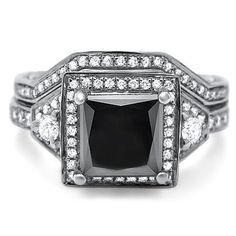 Amazon.com: 1.90ct Princess Cut Black Diamond Engagement Ring Bridal Set 14k White Gold: Jewelry