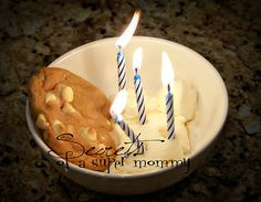 Secrets of a Super Mommy. Give each non-birthday person a candle. Pass around the birthday person's dessert. Each person takes a turn putting in their candle and telling the birthday boy/girl something about them they're thankful for or why they are glad that he/she is in our family. It continues until everyone has added a candle. Then the birthday boy/ girl  finally gets his/ her dessert and we light the candles and sing Happy Birthday.