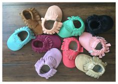 Look at those cute Baby Moccs! Genuine Leather Baby Moccasins 40+ Options - New Colors! | $14.99 on Jane.com