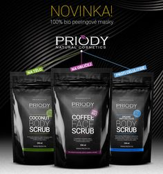 NOVINKA v nabídce na www.PRIODY.cz   100% BIO peelingy   Kokosové nebo kávové, tělové, pleťové, proti celulitidě... Více info: https://goo.gl/6k2yCc