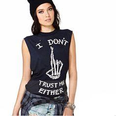 I Don't Trust Me Either Punk Sleeveless Shirt - Rebel Style Shop - 1