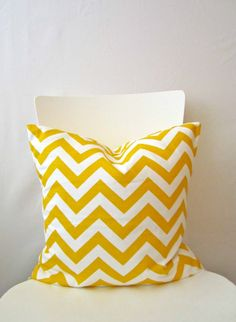 16 inch throw pillow cover, Chevron yellow and white. For indoor use. Throw Pillow Covers, Throw Pillows, Yellow Chevron, Zig Zag Pattern, Modern Prints, Home Living Room, Wind Chimes, Playroom, Blue And White