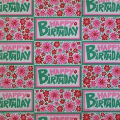 Vintage HY-SIL Happy BIRTHDAY - Gift Wrap Wrapping Paper - 1960s Flower Power