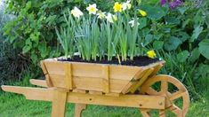 Wooden Wheelbarrow Planter With Free Plansinstructions Tea Tree Garden Wheelbarrow Planter Plans Wooden Planters, Wooden Garden, Diy Planters, Wooden Diy, Planter Boxes, Planter Ideas, Flower Planters, Woodworking Projects That Sell, Beginner Woodworking Projects