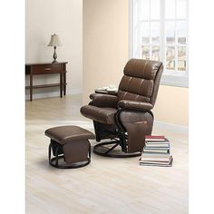 Swivel Glider Ottoman Recline Furniture Leather Chair Set Pocket Room Office Sup