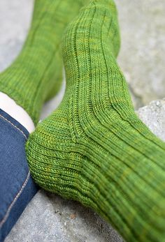 """""""Nice Ribbed Sock"""" pattern in Socks That Rock Mediumweight 'enchanted forest' by Glenna on Knitting to Stay Sane"""