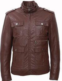 Fashionable Vintage Brown Leather Jacket For Mens