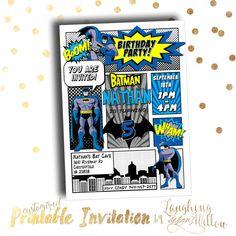 Batman Invitation Batman Birthday Party by LaughingWillowDesign
