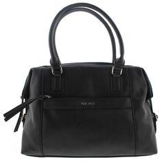 Nine West Womens Secret Zip Faux Leather Buckle Duffle Handbag