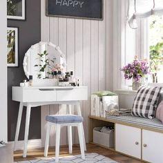 Arinze Vanity Set with Mirror Vanity Table Set, Vanity Set With Mirror, Vanity Desk, Table Desk, Make Up Desk Vanity, Diy Vanity, Large Round Mirror, Circular Mirror, Round Mirrors