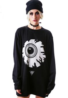 Buy Black Long Sleeve Eye Print Loose Sweatshirt from abaday.com, FREE shipping Worldwide - Fashion Clothing, Latest Street Fashion At Abaday.com