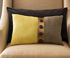 DIY pillow with ribbon & buttons