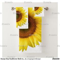 Shop Sunny Day Sunflower Bath towel Set created by wingsapartdesign. Yellow Bathroom Accessories, Yellow Baths, Yellow Shower Curtains, Christmas Ships, Bright Decor, Bathroom Shop, Sunflower Flower, Bathroom Images, Spa Towels