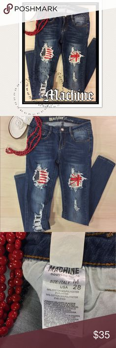 Mind-blowing MACHINE US and Union Jack Flag Jean These Union Jack and American Flag pattern broken-hole style distressed jeans are one of a kind! Skinny leg and massive tacking, dremmeling, distressing and whiskering signature of Machine Jeans...BUT with the added flags in both thighs. Mid-rise, 5 pocket and button fly. These have a fair amount of stretch to them! Perfect for the Fourth of July Fashionista! Machine Jeans Skinny