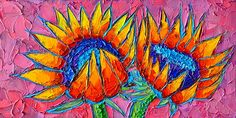 Sunflowers Love - Modern Colorful Floral Original Palette Knife Oil Painting By Ana Maria Edulescu