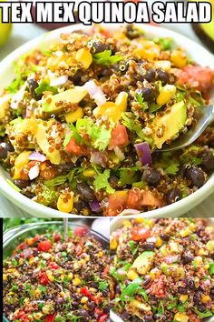 This Mexican-style Quinoa Salad is loaded with black beans corn tomatoes avocados red onion and cilantro. Simple healthy and incredibly delicious youll want to make it over and over again! Quinoa Recipes Easy, Healthy Salad Recipes, Vegetarian Recipes, Cooking Recipes, Paleo Food, Whole Foods Detox Salad Recipe, Simple Quinoa Recipe, Qinuoa Recipes, Quinoa Meals