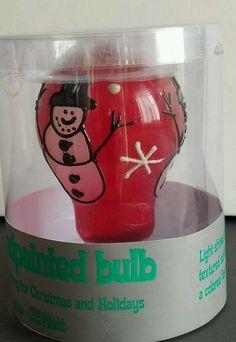 Hand Painted Glass Light Bulb Snowman Red 25 Watt Christmas #LImageHomeProducts eBay seller jantom37