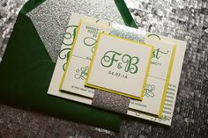 This unique color scheme on our ADELE suite is bright and vivid!Felicia and Bradford's wedding invitations are shown here in Letterpress printing. Tinkerbell Invitations, Glitter Wedding Invitations, Letterpress Wedding Invitations, Save The Date Invitations, Wedding Invitation Wording, Invitation Cards, Invites, Peter Pan Wedding, Wedding Cards