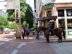Fort Worth Mounted Police patrol the downtown area of the city