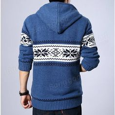 Mens Plus Thick Warm Hooded Zipper Sweater Cardigan Coat at Banggood