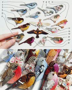 Шестнадцать птичек .  Броши, ручная вышивка хлопком, шерстью, бисером, жемчугом, стразами   Крепления с серебрением   Размер - от 55 до 75 мм в длину   #вышивка #ручнаяработа #ручнаявышивка #птицы #лерапетунина #embroidery #embellishment #bordado #ricamo #broderie #birds #lerapetunina