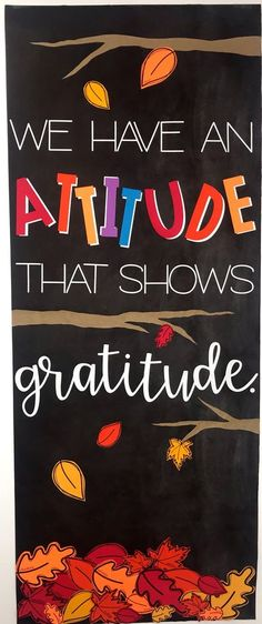 This classroom door / bulletin board display is a great way to talk about gratitude with our classroom kiddos. It's a great reminder that we always have something to be thankful for. If we forget, the leaves have words that remind us of some of those things. Great for ANY grade level - elementary, middle or high school. Thanksgiving Classroom Door, Fall Classroom Door, Fall Classroom Decorations, Thanksgiving Bulletin Boards, Halloween Bulletin Boards, School Door Decorations, Preschool Bulletin Boards, Kindergarten Classroom, School Classroom