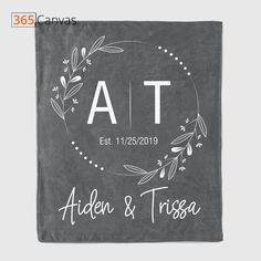 Is your BFF getting married and you have no idea what to get for her? This Couple Initials personalized blanket is an adorable, creative, and affordable choice that you must consider. Available in soft pastel colors, the blanket lets you add the initials of the couple. It is a perfect wedding or anniversary gift that is quite practical. #couple #anniversary #wedding #gifts #giftideas #est #blanket #custom #365canvas