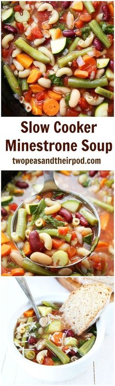 Slow Cooker Minestrone Soup Recipe on twopeasandtheirpod.com This easy and hearty crockpot soup is a family favorite!