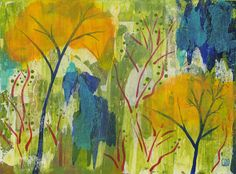 """©2016 Julia R. Berkley. A Spirited Place. 18"""" x 24"""" Acrylic on canvas panel (unframed) $950 #abstract #landscape #painting #green #gold #blue #woods"""