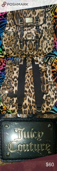 "Juicy couture Leopard Bling  Sequin Carry on Juicy couture Leopard Bling Sequin Carry on Back Pack. Polyester Exterior and interior.  Magenta color lining. 16.25"" width 16.5"" height 5.25"" deep Dropbox 3"" loop 10.5"" adjustable straps Juicy Couture Bags Backpacks"
