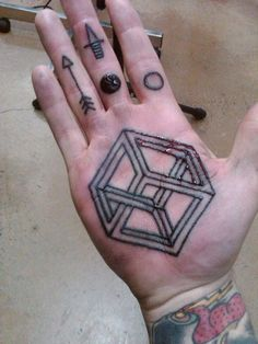 Hand tattoo #symmetry #cube #arrow
