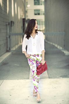 Chriselle Lim of The Chriselle Factor in floral print #GUESSjeans