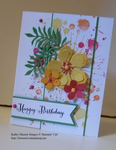 Stampin' Up!'s Botanical Builders Framelits; Stamps: Botanical Blooms, Gorgeous Grunge, Remembering Your Birthday, and Kinda Eclectic. http://kmaurer.stampinup.net - 5/25/16. (Pin#1: Flowers: SU-3D/ Dies...).